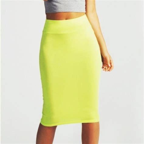 boohoo uk lime green midi pencil skirt from jen s closet