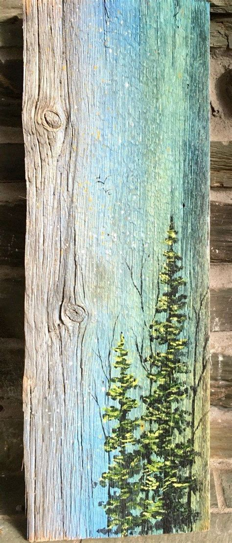 acrylic paint on wood ideas landscape of trees painted on recycled vermont barn board