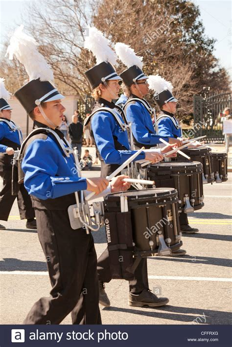high school marching band snare drums section stock photo