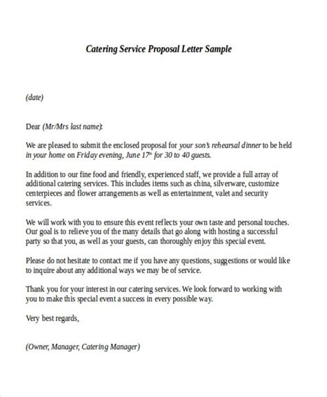 Introduction Letter Catering Company Service Letter Lukex Co