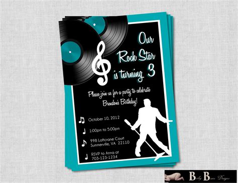 printable birthday invitations music theme rock roll music birthday party invitation