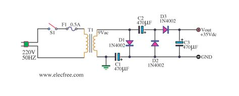 capacitor converts ac to dc simple ac to dc converter 9vac to 35vdc electronic projects circuits