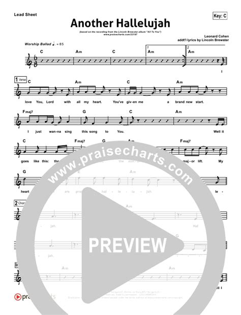 praisecharts quot another hallelujah quot lead sheet lincoln
