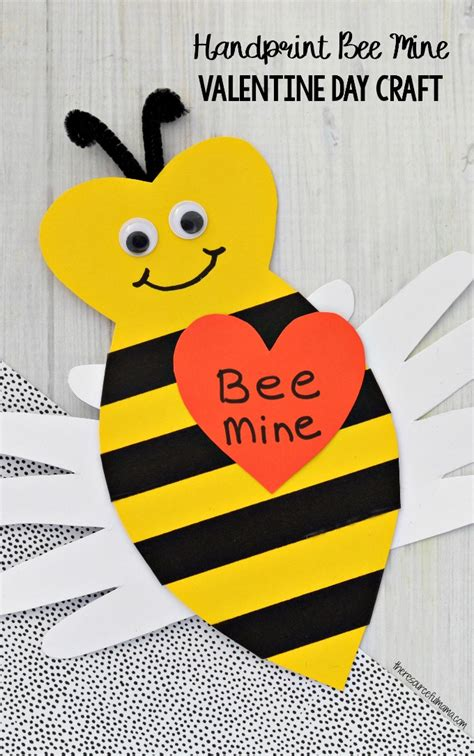 bee mine card template handprint bee mine day craft the resourceful