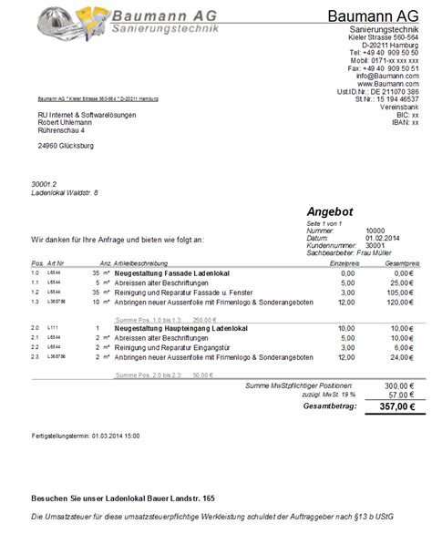 Musterrechnung Handwerkerrechnung Handwerkersoftware Handwerkerprogramm