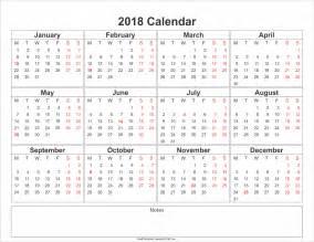 Calendar 2018 Yearly Free Printable Calendar 2018