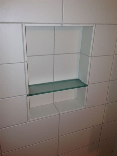tile with glass shelf shower recess craftsman seattle