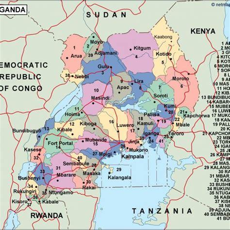 Download Online Uganda Map Regional Wall Map Pdf Azw