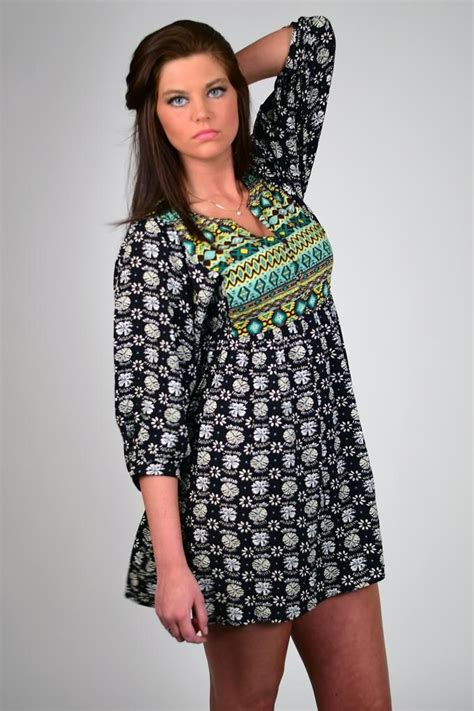 aztec pattern clothes umgee floral aztec pattern lightweight dress sephia mix