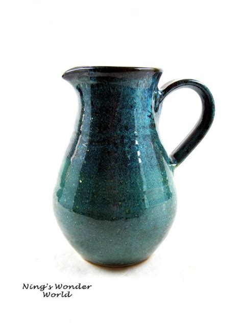 Pitcher Flower Vases by Flower Vase Pitcher Pottery Pitcher Water Jug In Teal