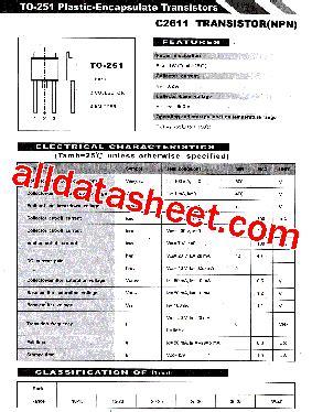 Transistor C2611 c2611 datasheet pdf list of unclassifed manufacturers