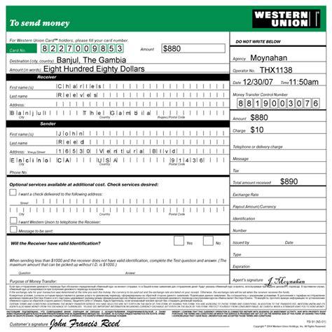 western union money order customer request form