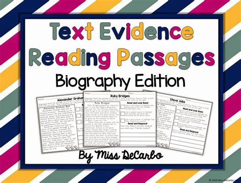 biography comprehension text text evidence reading passages biography edition miss