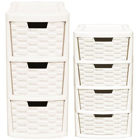 Rattan Drawer Storage Unit by Rattan Style 2pcs Plastic 3 Drawer 4 Drawer Tower