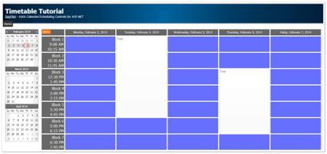 tutorial css asp net asp net timetable with custom css theme c vb net