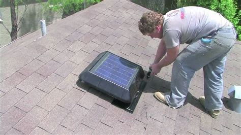 attic power vent fan solar powered power attic roof fan vent install how to by