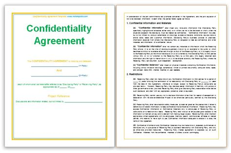 confidentiality agreement template templates platform