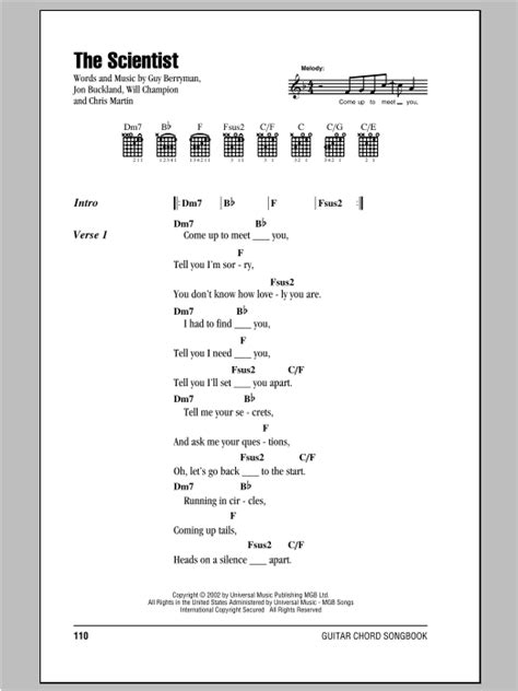 coldplay the scientist chords the scientist sheet music by coldplay lyrics chords