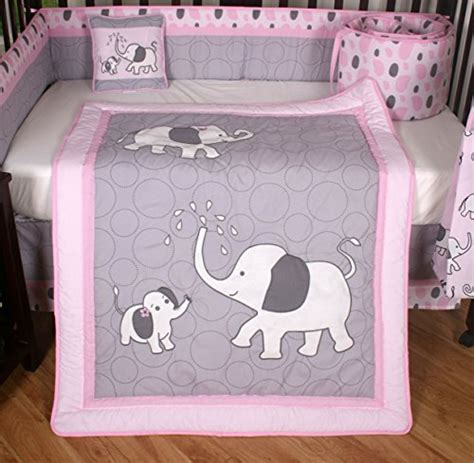 elephant baby girl bedding boutique pink gray elephant 13pcs crib bedding sets a