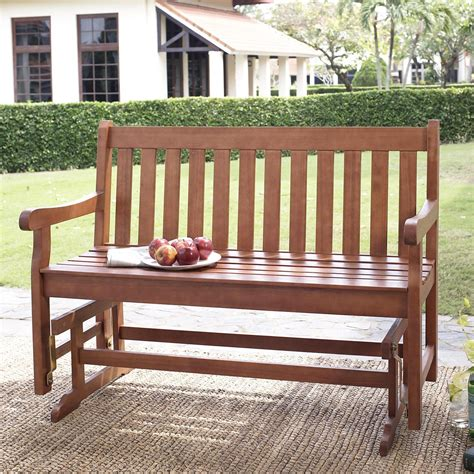 wooden glider bench outdoor coral coast amherst back 4 ft outdoor wood
