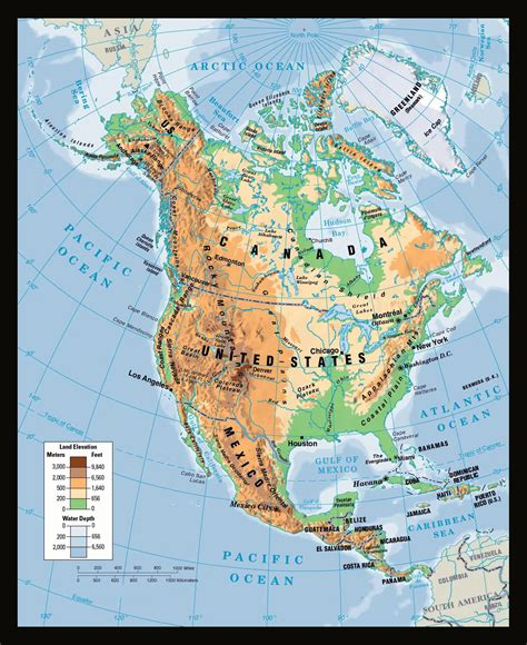 physical map of usa maps of america and american countries