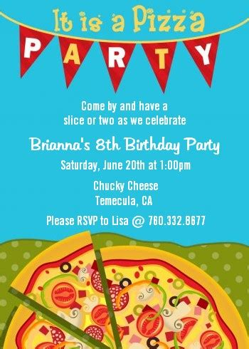 pizza party birthday party invitations candles and favors