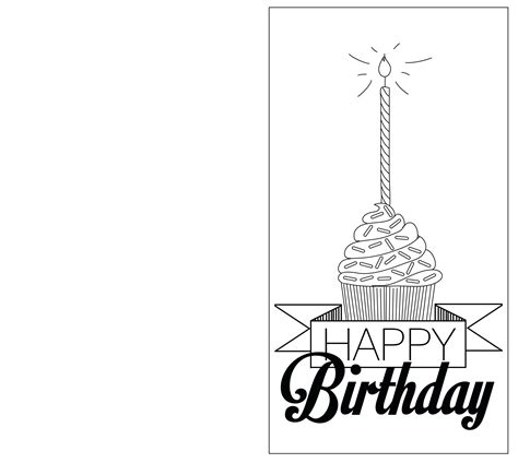birthday coloring card template free printable black and white happy birthday cards
