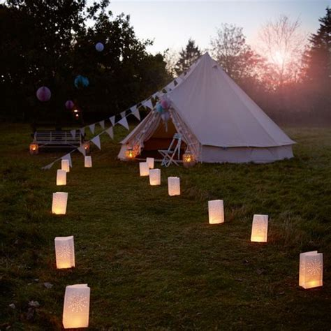 paper bag tea lights need a bigger tent but have the reception at night outside