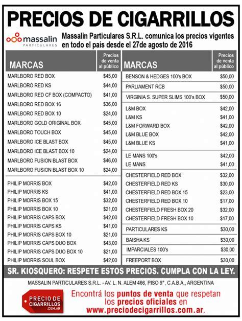 aumento cigarrillos 2016 lista de precios lista de precios de cigarrillos massalin particulares 27