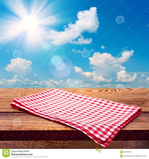 Empty Wooden Deck Table With Tablecloth Royalty Free Stock