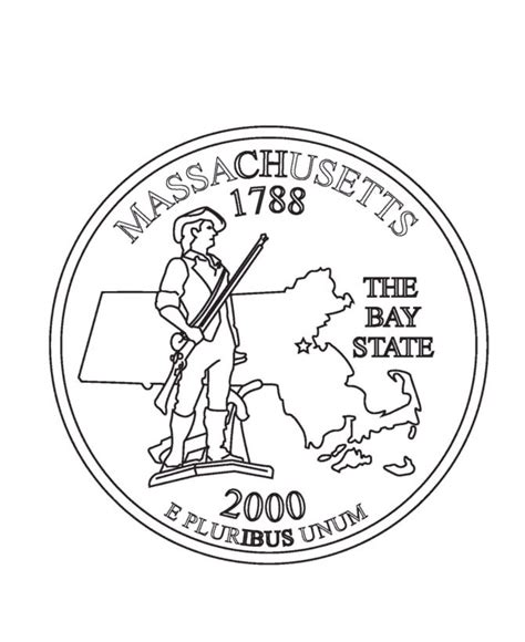 Coloring Page Quarter by Massachusetts State Quarter Coloring Page Usa State