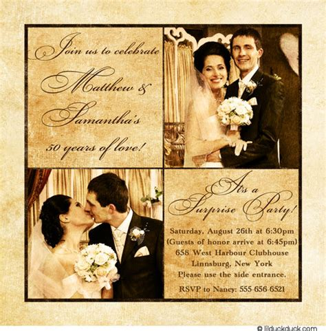 Wedding Announcement Speech by 50th Anniversary Invitation Two Photos Square Gold