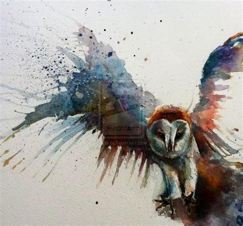 water color owl barn owl in flight watercolour by sarahstokes