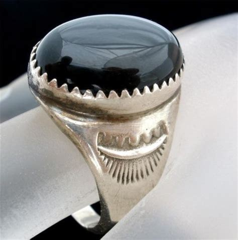 sterling silver ring black onyx large gemstone mens size