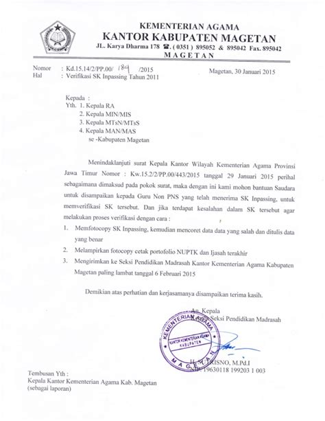 sk inpassing 2015 seksi pendidikan madrasah kab magetan verifikasi sk