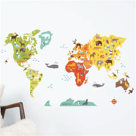 map of world wall sticker world map wall decal walldecals