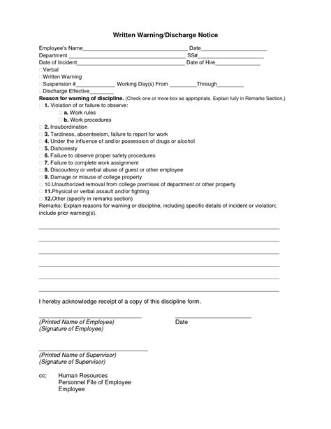 Best Photos Of Sle Employee Warning Notice To Employee Warning Notice Form Employee Written Warning Template Attendance