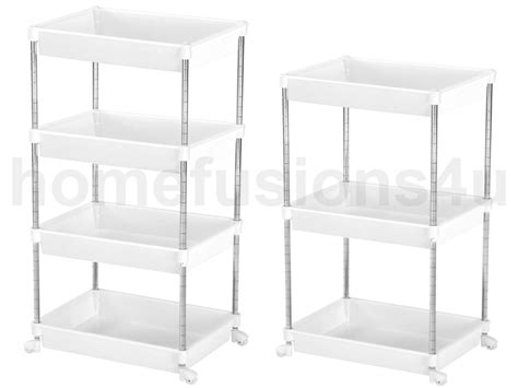 3 4 tier white plastic hairdresser trolley shelf