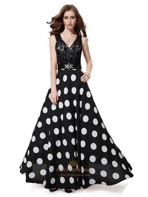 Dress White Polcadot Lace black and white polka dot lace bodice dress with beaded detail fancy bridesmaid dresses