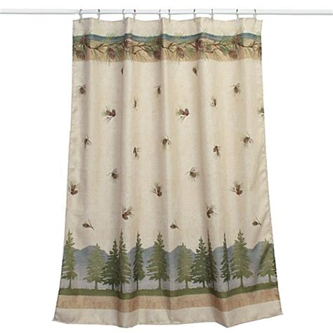 pine curtain pine cone branches fabric shower curtain bed bath beyond