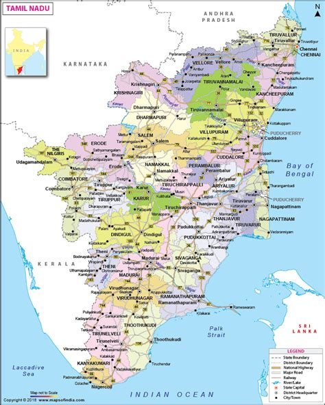 tamil nadu map state district information  facts