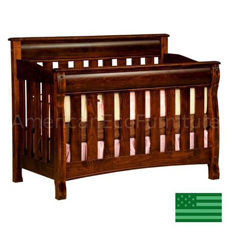 Usa Baby Cribs Amish Caspian 4 In 1 Convertible Baby Crib Solid Wood Made In Usa American Eco Furniture