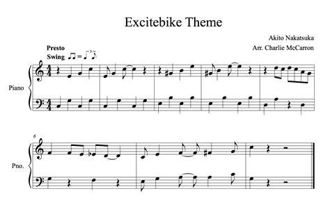 theme music in excitebike theme sheet music charlie mccarron