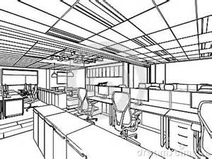 Drawing Perspective Of A Interior Space Office Sketch Coloring Page sketch template