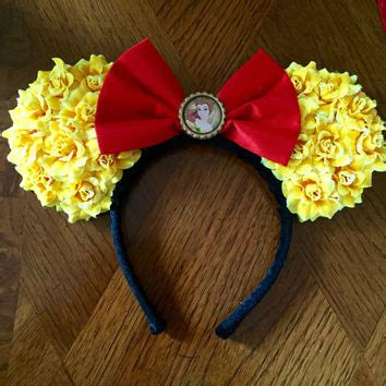 belle themed minnie ears from mymouseketears on etsy