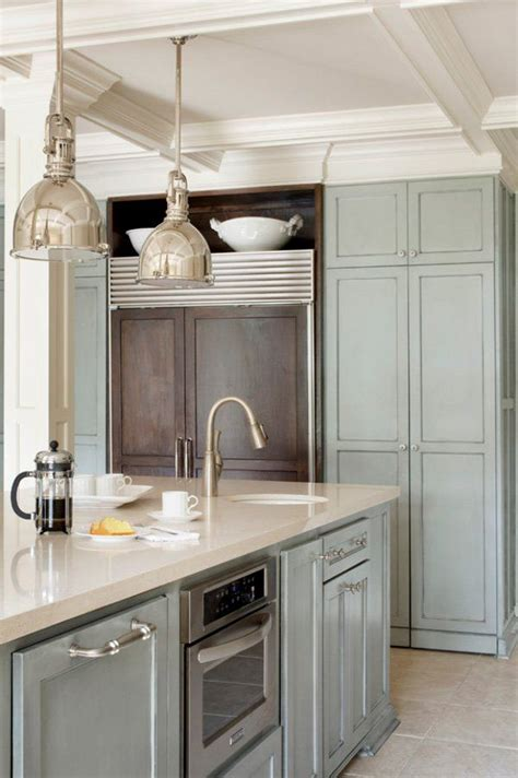 paint colors for kitchen cabinets with stainless steel appliances pale blue timber and benchtop stainless steel