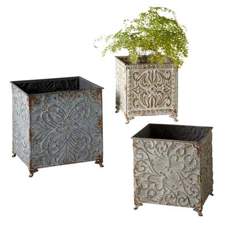 embossed tin planters set 3 63 130564