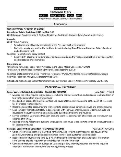 a school resume that made the cut top schools