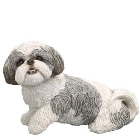 shih tzu figurine shih tzu figurine sandicast silver white midsize ms16405 at animal world 174