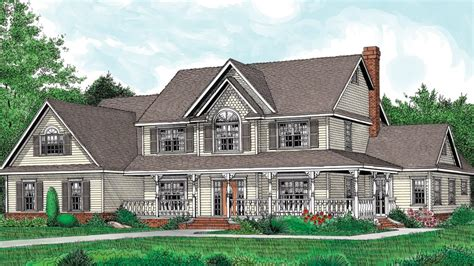 farmhouse blueprints home plan homepw25646 3005 square foot 5 bedroom 2